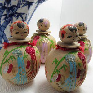 Kokeshi doll/ japanese doll/ mini okeshis/set 4 ko